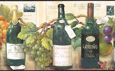 Import from France Wines Bottles Grapes 10 1 4 inch Wide Wallpaper Border Wall | eBay