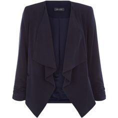 New Look Navy Crepe Waterfall Blazer ($27) ❤ liked on Polyvore featuring outerwear, jackets, blazers, navy, open front blazer, navy jacket, blue blazer, crepe jacket and blazer jacket