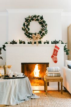 A semi traditional red and white knit Christmas stocking via wit and delight Christmas Time Is Here, Merry Little Christmas, Noel Christmas, Christmas And New Year, Winter Christmas, All Things Christmas, Christmas Fireplace, Christmas Salon, Cozy Fireplace