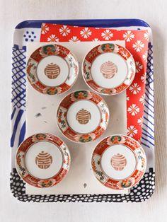 明治期の伊万里焼き☆華やかな赤絵の手塩皿(豆皿)6枚セット