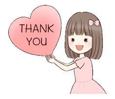 Little girl by Yukiko Ogawa sticker Thank You Qoutes, Thank You Quotes Gratitude, Thank You Gifs, Thank You Images, Love Cartoon Couple, Cute Love Cartoons, Cute Cartoon, Thanks Gif, Thanks Card