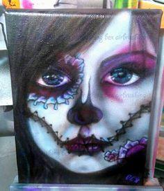 Airbrushed sugar skull by bex airbrushing