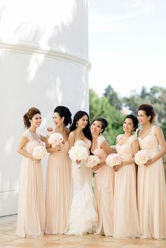 peach coral long bridesmaid dresses via Jana Williams Photography