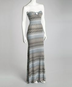 Take a look at this Gray Strapless Zigzag Maxi Dress by Modern Touch on #zulily today!