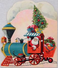 #926 50s Unused Santa Claus Railroad Train-Vtg Diecut Christmas Greeting Card