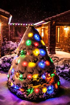 Christmas Lights, this is my favorite!! when snow covers xmas lights and they shine through