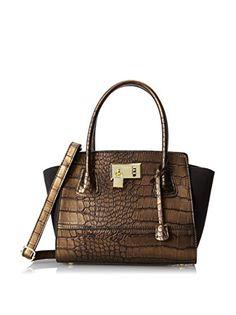 London Fog Hudson Satchel Top Handle Bag,Bronze Crocodile