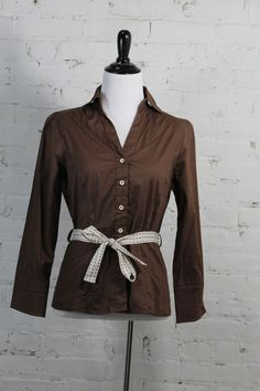 Miss Lili Women's Chocolate Brown Belted Cotton Blouse M #MissLili #ButtonDownShirt #Casual
