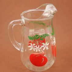 SALE Glass Pitcher Tomato Juice Bloody Mary Bar Vtg by charmings