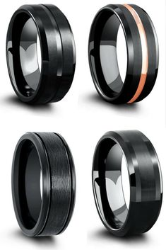 Mens Black Tungsten Wedding Ring Collection. A collection of all black wedding rings. I finally found his ring.