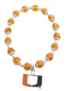 Miami Hurricanes Glass Beaded Stretch Bracelet Jewelry