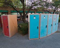 Vertical bike lockers by Richard Drdul, via Flickr