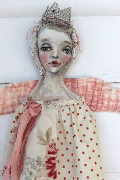 Polka Dot Angel, original textile fibre wall ooak art doll by fadedwest