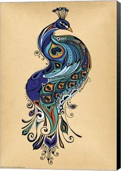 Peacock Animal Canvas Wall Art Print by Green Girl Canvas