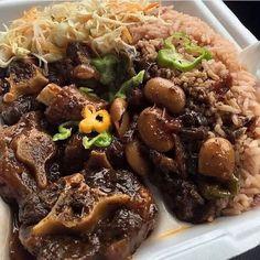 Jamaican Oxtail Stew & Rice 'n' Peas. Jamaican Oxtail, Jamaican Cuisine, Jamaican Dishes, Jamaican Recipes, Haitian Oxtail Recipe, Jamaican Cabbage, Guyanese Recipes, Oxtail Recipes, Meat Recipes