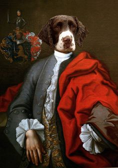 A Cure for the Monday Blues from Etsy / The English Room Blog / Anthropomorphic dog portrait.