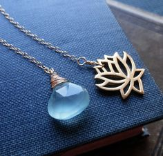 Lotus Necklace  Gold Lotus Flower necklace & Aqua by BriguysGirls, $32.00