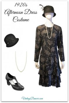 Downton Abbey 1920s Afternoon Tea or Traveling Dress Costume in fall/winter colors. Create this look at others at VintageDancer.com/1920s