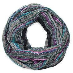 Women's Festival Bliss Multicolor Infinity Scarf, Boho Chic Shawl (Purple) at Amazon Women's Clothing store: