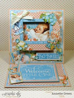 6 x 6 easel card for baby made with Graphic 45's Precious Memories collection.