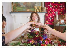 Bright 60s inspired bridal shower. Toast! Styled and designed by Rebekah Carey McNall of @aandbcreative and shot by @delbarr moradi