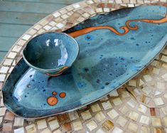 Platter and Dipping Bowl in Slate Blue with Rust Waves - Made to Order