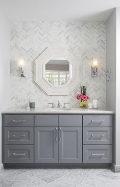 Tile behind vanity- Classic bathroom, Natalie Howe Design Grey Bathroom Vanity, Grey Bathrooms, Small Bathroom, Master Bathroom, Grey Bathroom Cabinets, Gray And White Bathroom, Gray Vanity, Ikea Bathroom, Single Sink Bathroom Vanity