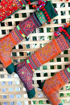 Funky Christmas Stockings Hmong Embroidery by SiameseDreamDesign, $22.00