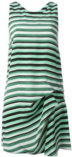 $309, White and Green Horizontal Striped Shift Dress: Kenzo Breton Striped Dress. Sold by farfetch.com. Click for more info: https://lookastic.com/women/shop_items/256768/redirect