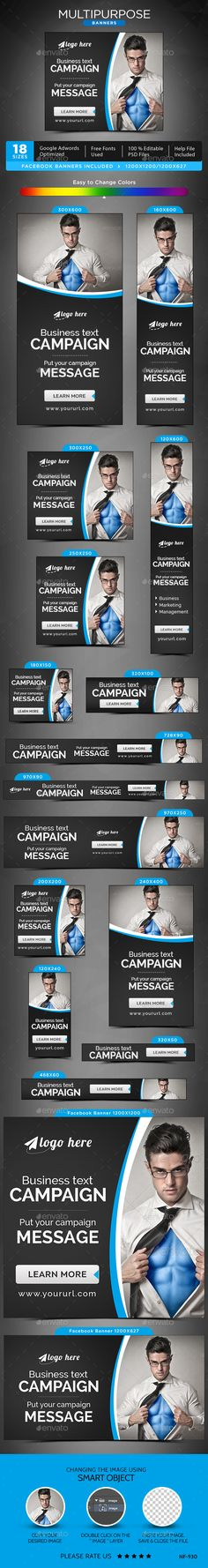 Multipurpose Web Banners Template PSD #design #ad Download: http://graphicriver.net/item/multipurpose-banners/14107204?ref=ksioks