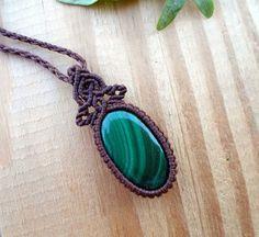 Malachite macrame pendant macrame jewelry unisex by SelinofosArt