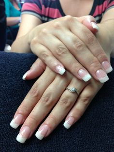Pam's wedding nails. Silver sparkle along the smile line. Simple and elegant gel nail art.