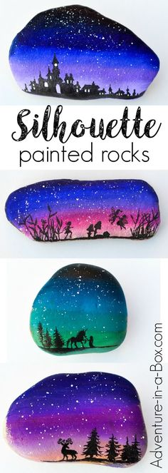 Decorate rocks with elegant landscape silhouettes drawn over the starry twilight sky! Simple rock painting technique that even kids can master.