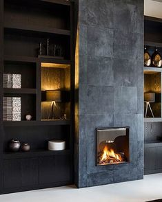 45 Perfect Modern Fireplaces For Winter Decor Ideas Home Deco contemporary fireplace Decor Fireplaces Ideas Modern Perfect Winter Home Fireplace, Fireplace Remodel, Living Room With Fireplace, Fireplace Surrounds, Slate Fireplace, Fireplace Facade, Electric Fireplace, Fireplace Ideas, Contemporary Fireplace Designs