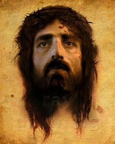 The background image featured on this new portrait of Jesus is an exact replica     of the Shroud of Turin fabric.