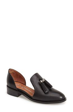 Free shipping and returns on Jeffrey Campbell 'Open Case' Tasseled Leather Flat (Women) at Nordstrom.com. The open design of this almond-toed supple leather loafer makes for a lighter look that's perfect for transitioning into warmer seasons. Kicky tassels finished with silvery hardware polish the look.