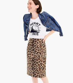 Shop the Collection leopard calf hair pencil skirt at J.Crew and see the entire selection of Women's Skirts. Find Women's clothing & accessories at J. Leopard Skirt Outfit, Midi Rock Outfit, Pencil Dress Outfit, Pencil Skirt Casual, Midi Skirt Outfit, Pencil Skirt Outfits, High Waisted Pencil Skirt, Casual Skirt Outfits, Pencil Skirts
