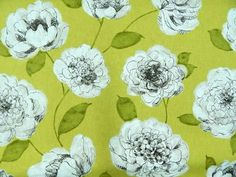 Click link to PURCHASE fabric by the yard: https://1502fabrics.com/product/pkaufmann-begonia-chartreuse/?_sft_fabric_application=drapery-fabric&sf_paged=5 Large White and Grey Floral with Chartreuse Yellow Green background. Flowers