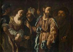 Paolo Finoglio o Bottega  Cristo e l'Adultera  Epoca :Seicento  Dipinto olio su tela raffigurante Cristo e l'Adultera  Prima metà del 1600  Misure: cm 108,5 x 77,5