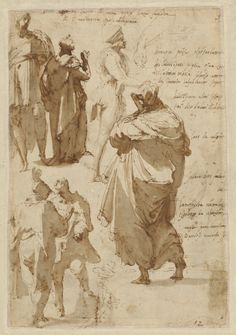 Perino del Vaga (Pietro Buonaccorsi) – Studies of Figures and Architecture (recto); Figure Studies (verso), 1542/45, Pen and brown ink, brush with brown and gray wash,...(recto); pen and brown ink and brown wash (verso)    J. Paul Getty Museum, Los Angeles
