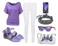 """""""Purple Fever"""" by tlb0318 on Polyvore featuring Frame Denim, Just Cavalli, Ray-Ban, AeraVida, purple, whitedenim and purpleoutfit"""