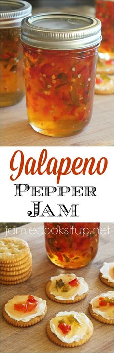 Jalapeno Pepper Jam from Jamie Cooks It Up! Jalapeno Pepper Jam from Jami Jalapeno Jelly, Stuffed Jalapeno Peppers, Pickled Jalapeno Peppers, Pickles, Jam And Jelly, Jelly Recipes, Canning Recipes, Canning Tips, The Best