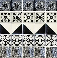 Hadeda Tiles MEXICAN X CM Tramas Diseños Florales Pinterest - Black and white talavera tile