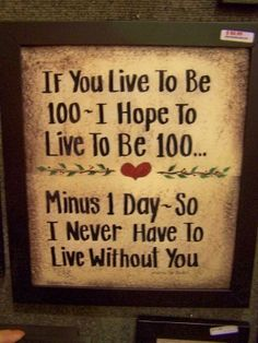 awe .. i say this to my honey all the time :) But we say 80 ! ha!