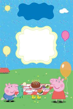 Peppa Pig Happy Birthday, Peppa Pig Birthday Invitations, Pig Birthday Cakes, Girl 2nd Birthday, Invitacion Peppa Pig, Cumple Peppa Pig, Peppa E George, Peppa Pig House, Aniversario Peppa Pig