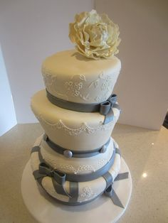 Elegant Grey Ribbon Wedding Cake