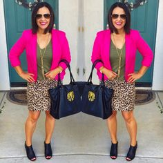 Teacher outfit, work wear, ootd, budget style, pink blazer, olive green, leopard skirt, peep toe booties