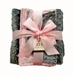 Pink & Gray Minky Gift Set-pink, grey, gray, baby, girl, newborn, layette, baby shower, present, soft, minkee, mink, dots, silver, meg, meg original, baby boutique, san diego, new, luxury, upscale, high quality, trendy