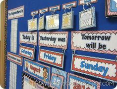Calendar activities-great post I like the weather pictures on a ring. Kindergarten Calendar, Calendar Activities, Classroom Calendar, Kindergarten Classroom, Kindergarten Activities, Classroom Activities, Teaching Math, Maths, Teaching Ideas