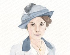 Mary in blue Downton Abbey painting by Eva Robertson